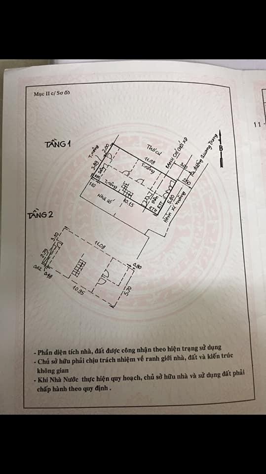 Bán Nhà hẻm 417 Quang Trung, phường 10, quận Gò Vấp, 5,8 x 11m, 1 Trệt +  1 Lầu, giá 4,45 tỷ